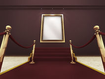 Golden picture frame in a Grand Gallery. Red carpet leading up to the stairs to a golden picture frame on a wall. (A clipping path for the white content area is stock illustration