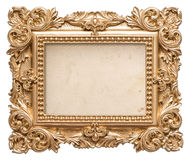 Golden picture frame with grungy canvas. Vintage baroque object Stock Image