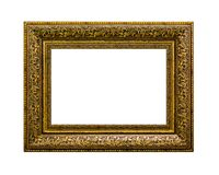 Golden picture frame isolated on white background Royalty Free Stock Photos