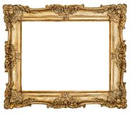Golden picture frame isolated white background Stock Images
