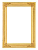 Golden picture frame isolated on white background Stock Images