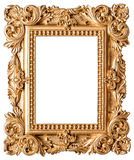 Golden picture frame isolated on white background Stock Photo