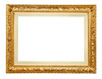 Golden frame on white. Golden picture frame isolated on white Royalty Free Stock Photos
