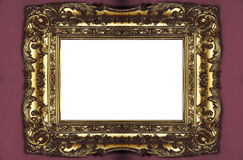 Golden picture frame. Large old golden picture frame royalty free stock images