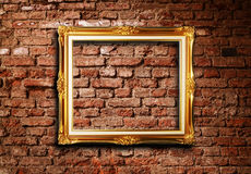 Free Golden Picture Frame On Grunge Brick Wall Stock Image - 16033881