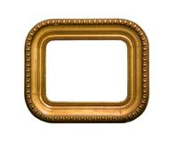 Golden picture frame rectangle with round corners isolated on white background royalty free stock photos