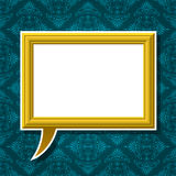 Golden picture frame speech bubble on background Royalty Free Stock Photography