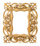 Golden picture frame. Vintage art object. Isolated on white background Royalty Free Stock Photo