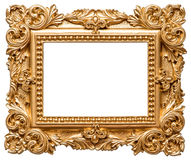 Golden picture frame. Vintage object isolated on white Royalty Free Stock Photo