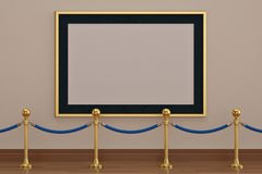 A golden picture frame on wall with stand rope barriers. 3D illu. Stration vector illustration