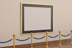A golden picture frame on wall with stand rope barriers. 3D illu. Stration royalty free illustration