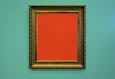 Golden Picture Frame and wall texture photo Royalty Free Stock Images