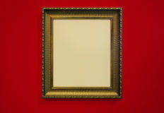 Golden Picture Frame and wall texture photo Stock Images