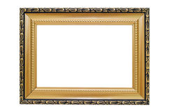 Golden picture frame on a white background. Golden picture frame close-up isolated on white background Stock Photos