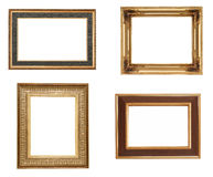 Golden picture frames. Isolated on white Stock Photography