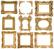 Golden picture frames. Baroque style antique objects Stock Images