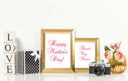 Golden picture frames roses flowers vintage camera Stock Photography