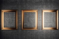 Golden picture frames stock illustration