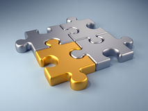 Golden piece. Golden jigsaw piece connected in puzzle structure - 3d render Stock Photo