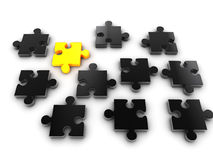 Golden piece of puzzle Stock Photography