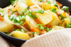 Golden pieces of fried potatoes in pan Royalty Free Stock Photos