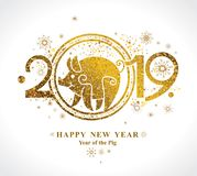 Golden Pig 2019 in the Chinese calendar. royalty free stock images