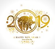 Golden Pig 2019 in the Chinese calendar. Beautiful New Year card with the symbol of the year Yellow Earth Pig stock photo
