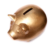 Golden pig moneybox Royalty Free Stock Photos