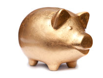 Golden pig moneybox Royalty Free Stock Image
