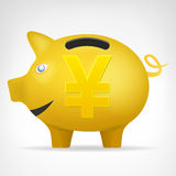 Golden pig treassure in side view with Yen symbol vector Stock Photos