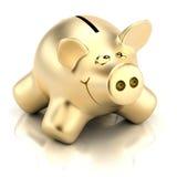 Golden piggy bank. Three-dimensional model of the sculpture Piggybank royalty free illustration