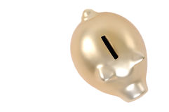 Golden piggy bank. Isolated on white background Stock Photos
