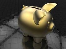Golden piggy bank on a carbon fiber background. 3D render illustration of a golden piggy bank positioned on a carbon fiber background Stock Photography