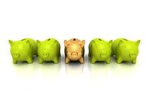 Golden piggy bank choice concept Stock Photo