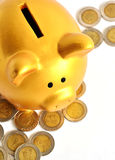 Golden Piggy Bank and Coins Royalty Free Stock Images