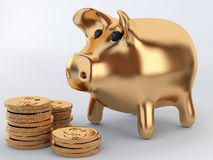 Golden piggy bank with coins. Golden piggy bank and coins Stock Image