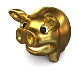 Golden piggy bank. Concept of wealth, savings and investments,  on white background Stock Photos