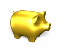 Golden piggy bank, 3D illustration. Golden piggy bank, isolated on white, 3D illustration Royalty Free Stock Image