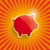 Golden Piggy Bank With Flag Retro Sun Royalty Free Stock Images