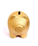 Golden piggy bank from front side. Isolated Royalty Free Stock Image