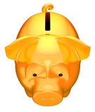 Golden piggy bank front top view. Isolated over white Stock Photos