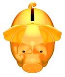 Golden piggy bank front top view Stock Photos