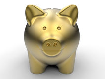 Golden piggy bank front view. 3D rendered illustration of a golden piggy bank. The composition is isolated on a white background with shadows Stock Photo