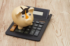 A golden piggy bank with grad cap and calculator on wood backgro Stock Image