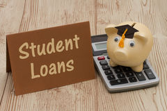 A golden piggy bank with grad cap, card and calculator on wood b. Getting Student Loans, A golden with grad cap piggy bank, card and calculator on a wood Stock Photos