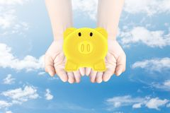 Golden Piggy Bank in hand. Sky background Stock Photos