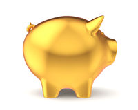 Golden piggy bank. Isolated on white background Royalty Free Stock Photo