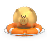 Golden piggy bank in a lifebuoy Stock Photo