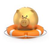 Golden piggy bank in a lifebuoy. Saving money concept Stock Photo