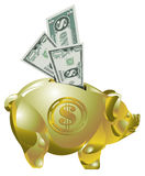 Golden piggy bank with money Stock Photography